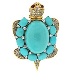 Turquoise and Diamond Turtle Brooch | From a unique collection of vintage brooches at https://www.1stdibs.com/jewelry/brooches/brooches/