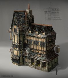 An exercise in designing old architecture and working on rendering skills Fantasy City, Fantasy House, Fantasy Places, Medieval Houses, Medieval Town, Medieval Fantasy, Medieval Fortress, Architecture Design, Classical Architecture