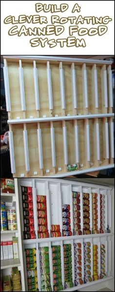 This Rotating Canned Food System Utilizes Maximum Food Storage Capacity in a Very Limited Space (Diy House Cleaners) Kitchen Pantry Cabinets, Diy Kitchen Storage, Pantry Storage, Pantry Organization, Can Storage, Pantry Ideas, Food Storage Shelves, Pantry List, Organized Kitchen