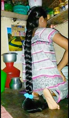 There is nothing so amazing to see a lady get a awesome haircut. And at the same time It is shame to see a braid being cut off . To her shoulders blades Long Hair Indian Girls, Indian Long Hair Braid, Braids For Long Hair, Indian Braids, Long Silky Hair, Super Long Hair, Loose Hairstyles, Indian Hairstyles, Braided Hairstyles