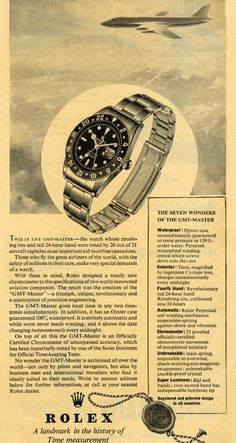Rolex watches are crafted from the finest raw materials and assembled with scrupulous attention to detail. Discover the Rolex collection on the Official Rolex Website. Sport Watches, Cool Watches, Watches For Men, Dream Watches, Vintage Advertisements, Vintage Ads, Vintage Posters, Luxury Watches, Rolex Watches