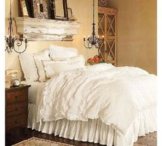 Shabby Chic Bedroom, Love the antique distressed mantel above bed.