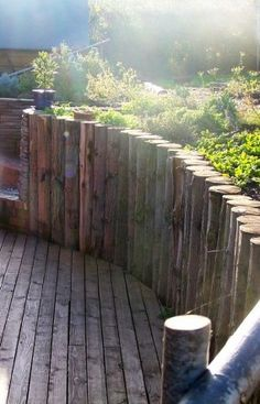 Cedar Log retaining wall