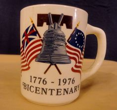 Bicentenary Coffee Mug Tea Cup Hot Chocolate 1776 1976 Liberty America Flag USA #