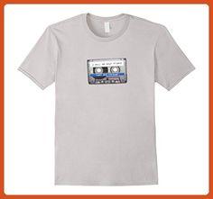 Mens Unisex Retro Loose Fit 90's Tape Cassette Friend Tee T-Shirt 2XL Silver - Retro shirts (*Partner-Link)