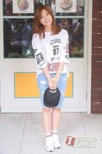 Distressed Jeans + Oversized Top | 11 Korean Fashion Trends to Steal, check it out at http://cuteoutfits.com/korean-fashion-trends-cute-outfits/