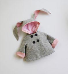 Girls Bunny Coat// Girls Handmade Clothing// Grey by littlegoodall