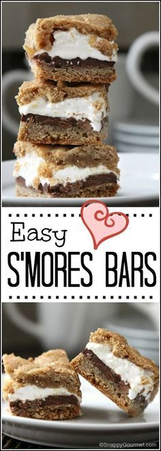 Easy S'mores Bars Cookies - best summer potluck dessert recipe! A fun s'more cookie with chocolate, marshmallow, and graham crackers that is perfect for a party! SnappyGourmet.com