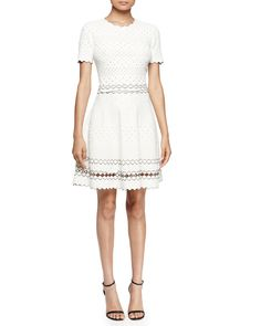Alexander McQueen Short-Sleeve Eyelet Fit-and-Flare Dress