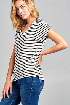 e08d1bcc7aa11d Alexa Butter Soft Striped Tee (Black)