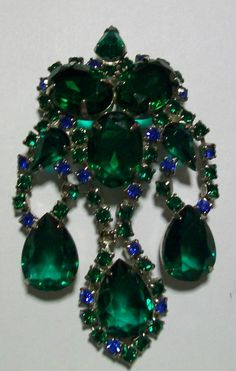 "Large Brooch with Blue and Unfoiled Green Rhinestones Dangles over 3.25"" Long"