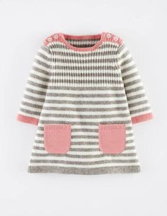 Baby Knitting Patterns Dress Mini Boden 'Stripy' Knit Dress (Baby Girls) available at Baby Knitting Patterns, Knitting For Kids, Baby Patterns, Crochet Patterns, Crochet Baby, Knit Crochet, Knit Baby Dress, Knit Baby Sweaters, Baby Pullover