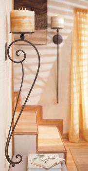 """I like the colors and """"feel"""" of this more than the sconce/lamp etc! Sedona Artistic Wall Sconce (Set of Wrought Iron Candle Holders, Wrought Iron Decor, Iron Furniture, Tuscan Decorating, Candle Wall Sconces, Iron Wall, Decoration, Shabby, Just For You"""
