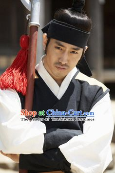 Ancient Korean Black and White Swordsman Costume and Hair Accessories Complete Set