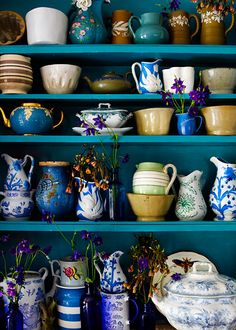 great display of 19thC. English ceramics and pottery. LOVE THE COLOR.