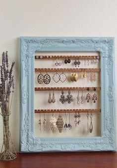 Hanging Earring Organizer, Earring Holder Frame, Custom Earring Holder, Hanging Jewelry Organizer, Creatively Cluttered Earring Display – About jewelry organizer diy Diy Earring Holder, Diy Jewelry Holder, Hanging Jewelry Organizer, Earring Display, Jewelry Organization, Necklace Holder, Earing Organizer, Jewelry Box, Jewelry Accessories