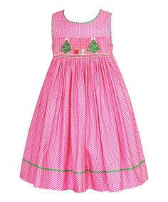 Another great find on #zulily! Pink Polka Dot Christmas Tree Smocked Dress - Toddler & Girls #zulilyfinds