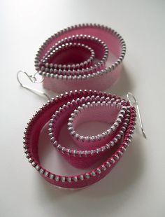 three-tier vintage zipper tape teardrop dangle earrings in pinks Flickr