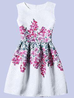 Flower Print Fit & Flare Sleeveless Dress - White -SheIn(Sheinside) Mobile Site