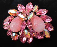 Regency Signed Rhinestone Opal Brooch Pin Vintage Aura Borealis Pink Perfection | eBay