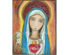Easter Present!   Immaculate Heart of Mary  Folk Art  Print from by FlorLarios, $15.00