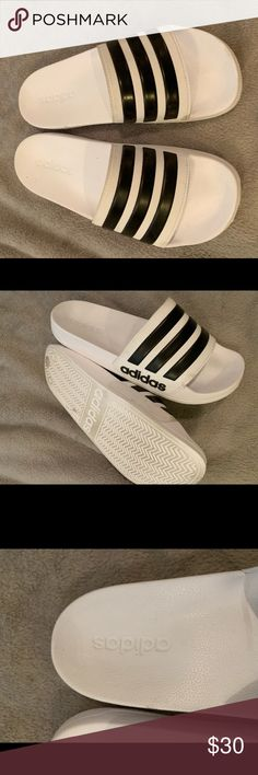 0ed0c49bd Adidas Slides Size 8 White Adidas Slides in White with Black Stripes ⚡️only  used a