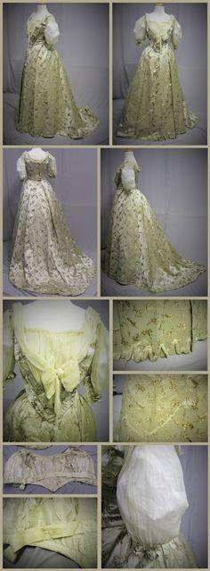 1890's Silk Gold Metallic And Ivory Brocade Ballgown By Mrs C. Donvan New York. Ebay seller: svpmeow1