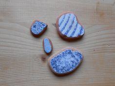 Sea pottery,Genuine beach pottery, blue striped fantasy sea pottery 4 pieces,jewelry,crafting,collectible,DIY projects,home decor.  lotto203 di lepropostedimari su Etsy