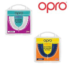 From 9.99 Twin Pack - Opro Junior Snap Fit Mouth Guard Gum Shield For Rugby Hockey Mma Boxing (blue  White Colours)