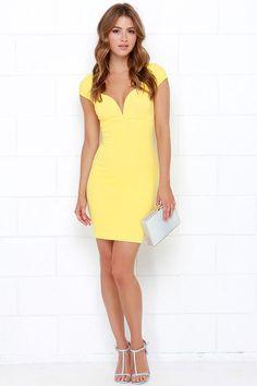 Puttin' on the Ritz Yellow Bodycon Dress at Lulus.com!