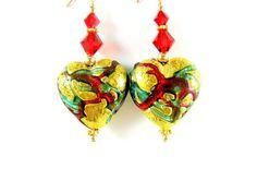 Gold Heart Earrings, Murano Earrings, Valentine's Day Earrings, Venetian Glass Earrings, Red Green Earrings, Valentine's Jewelry - Beloved on Etsy, $29.00