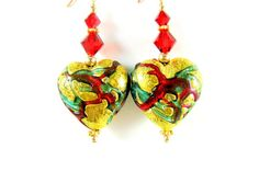 Gold Heart Earrings, Murano Earrings, Valentine's Day Earrings, Venetian Glass Earrings, Red Green Earrings, Valentine's Jewelry - Beloved on Etsy, $29.00
