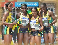Jamaican Women   PENN RELAYS: Jamaican Women Top USA Women in 4×100