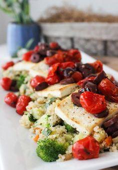 Mediterranean tofu with veggie quinoa