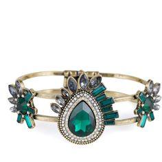 The Emerald Tiered Bracelet ($36) ❤ liked on Polyvore featuring jewelry, bracelets, bracelet bangle, bracelet jewelry, emerald bracelet, emerald jewelry and emerald jewellery