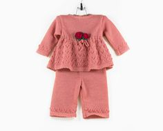 Knitted Baby Girl Dress and Pants Pink 6 12 от SasasHandcrafts