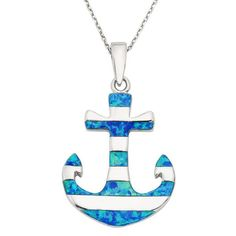 Anchor with Blue Inlay Opal Stripes Pendant in 925 Sterling Silver by…