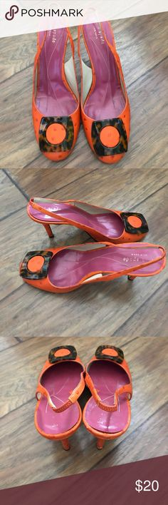 Kate spade kitten heels These are adorable!  Orange leather with raised dots and a tortoise shell square buckle on the toe!  Bought from eBay last month.  Great condition and comfortable but a whim purchase!  Need to clean out the closet! kate spade Shoes Heels
