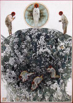 Transfiguration, original print on natural canvas and stretcher of modern icon, made by Ivanka Demchuk Contemporary Christian Art, Original Prints, Christian Artwork, Painting, Art, Catholic Art, Sacred Art, Interesting Art, Modern Christian Art