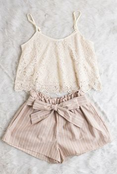 Cream lace blouse, spaghetti strap, crop top, tan and white bow shorts, cinched, summer, spring, flatlay // The Copper Closet, fashion, boutique, clothing, affordable, style, woman's fashion, women fashion, online shopping, shopping, clothes, girly, boho, comfortable, cheap, trendy, outfit, outfit inspo, outfit inspiration, ideas, Jacksonville, Gainesville, Tallahassee Florida, photo shoot, look book