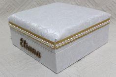Porta joias com tecido e pérolas MDF. door jewel pearls