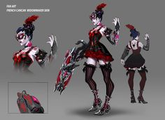"""Floriane TiamPRO Concept artist Fan Art / Widowmaker """"French Cancan"""" Hi ! I decided to make a little skin concept of my favorite character Widowmaker ! Tribute to her French origins the """"French CanCan"""" Based on Arnold Tsang Concept. Overwatch Widowmaker Skins, Overwatch Comic, Overwatch Memes, Overwatch Fan Art, Character Concept, Character Art, Character Design, Concept Art, Overwatch Skin Concepts"""