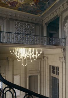 """""""Les Cordes"""" Incredible aerial and evanescent chandelier by Mathieu Lehanneur #spotdesign #lighting"""
