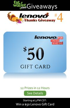 Lenovo Thanks Giveaway Black Friday 2014 Kickoff: #4 Win a $50 Lenovo Gift Card
