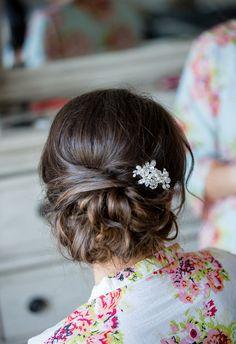 Little glitzy hair brooch, romantic up-do // little acorn photography
