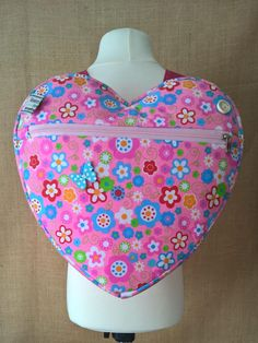 girl's pink flowers heart backpack, school bag,  holiday bag, day bag, nursery bag with an option to purchase a matching coin purse by grannyhodgesewing on Etsy