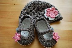 Baby Girl Flower Hat with Mary Jane Booties Set - You Choose Colors, Baby Girl Clothes, Baby Girl Photo Prop, Baby Girl. $38.00, via Etsy.