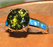blue fire opal ring Gemstone silver jewelry Sz 8.25 elegant green zircon Mh4