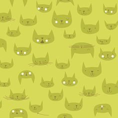 Lizzy House Catnap Fabric, Green Cat Heads