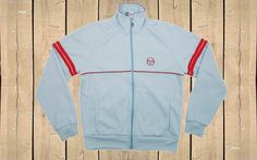 Vintage Sergio Tacchini Track Top Made in Italy 90s Light Blue M Tracksuit Top Jacket by BlackcatsvintageUK on Etsy